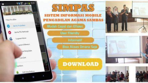 Ketua Pengadilan Agama Sambas me-Launching aplikasi SIMPAS (SISTEM INFORMASI MOBILE PENGADILAN AGAMA SAMBAS)