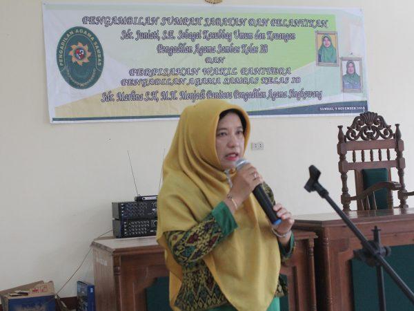 Perpisahan Marlina, SH., MH, Promosi Menjadi Panitera Pengadilan Agama Singkawang