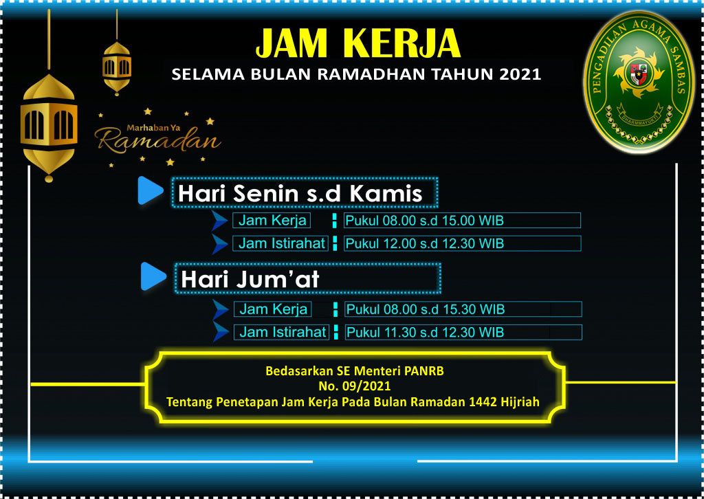 Jam Layanan Selama Bulan Ramadan 1442 H